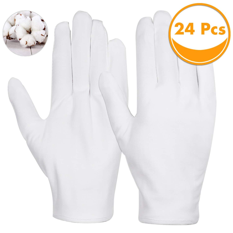 Guantes blancos, Sinwind, 12 pares, guantes blancos de algodón, guantes de tela, cómodos y transpirables, para el cuidado de la piel, joyas, para el trabajo, etc.: Amazon.es: Bricolaje y herramientas