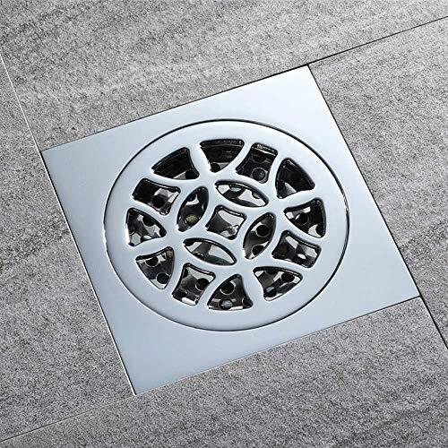 ZXL Pure koperen vloer sifon, hoge stroom douche kanaal, bad/geborsteld water/kickback/insect afstotend/deodorant 100X100mm afvoerdeksel
