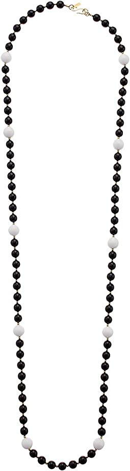 "48"" Black Beads with White Stations Gold Spacers Necklace"