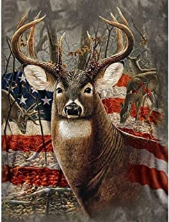 american flag with deer