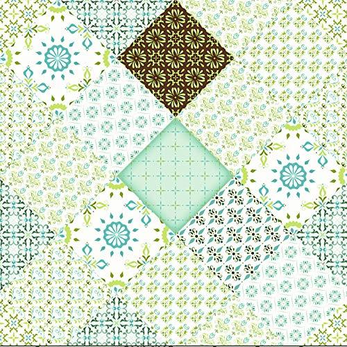 Dundee Deco MGBHAZ-92660 Tapete, geometrisch, Cerulean Teal Green Formen in Rhombus, selbstklebend, entfernbar, 5,5 m x 61 cm, 3,4 m²
