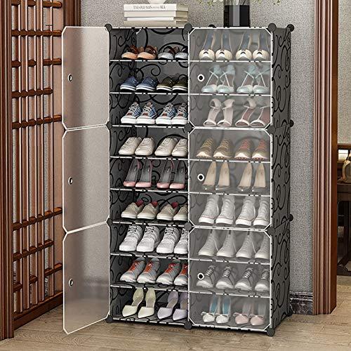 Organizador De Almacenamiento De Zapatas,Estante De Zapatos Apilables,Plástico Gran Capacidad Estante De Almacenamiento De Rack De Zapatos,Puerta Transparente De La Torre De Zapato-Negro. 9-tier 85x32