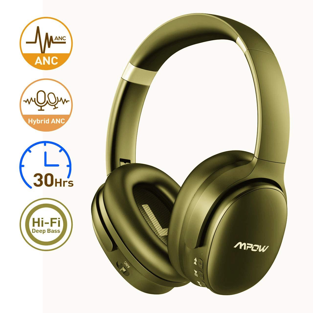 Mpow - Auriculares Bluetooth con transmisor, auriculares inalámbricos RF con radio de acción de 30 m, autonomía de 30 horas, auriculares de TV plegables Over-Ear, reducción de ruido, auriculares para TV/PC/receptor AV/juegos: