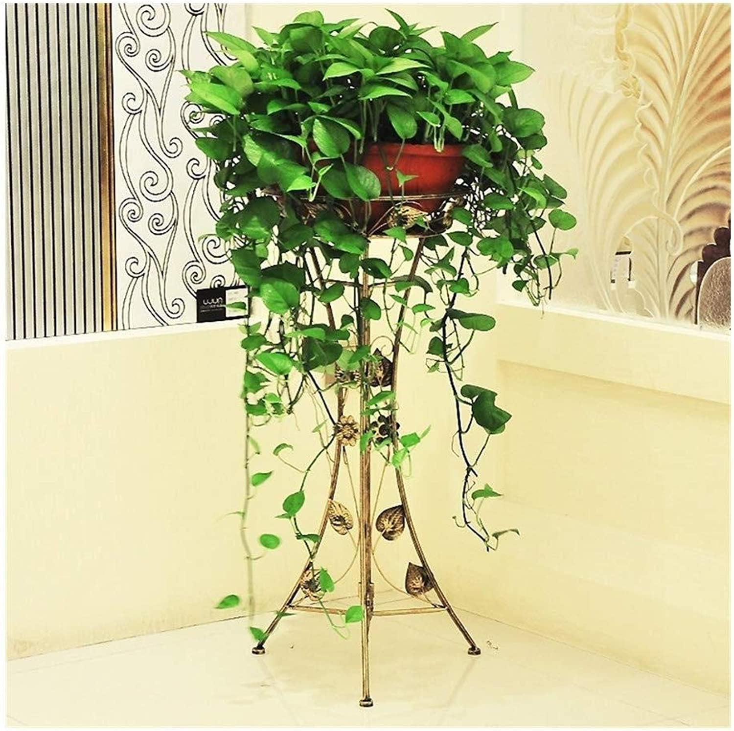 Flower Stand-Metal Single-Layer Plant Flower Pot Display Stand Floor-Standing Storage Rack, Home Decoration Flower Shop Shelves (Size   Height 99cm)