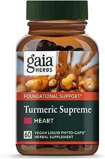 Gaia Herbs, Turmeric Supreme Heart, Turmeric Curcumin Supplement, Promotes Heart Health with Black Pepper, Resveratrol, Quercitin, Organic Hawthorn, Vegan Liquid Capsules, 60 Count