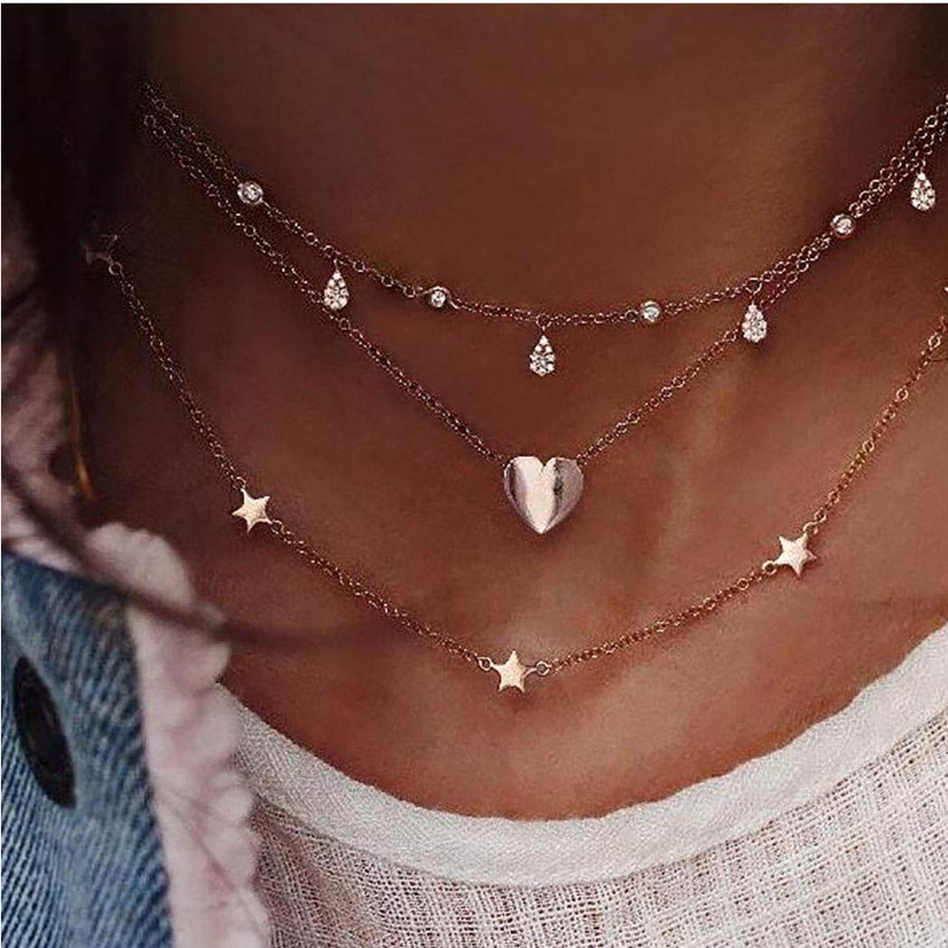 Unicra Boho Layered Choker Necklace Star Necklace Crystal Choker Diamond Heart Charm Pendant Necklaces Multi-layered Station Chain for Women and Girls
