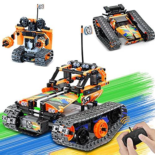 Technik Ferngesteuert Spielzeug für Jungen, LUKAT 3 in 1 STEM Ferngesteuertes Bausteine Bauspielzeug für Kinder Alter 8 9 10 11 12 Jahre, Pädagogische RC BAU Spielzeug Racer RC Auto/Panzer/Roboter