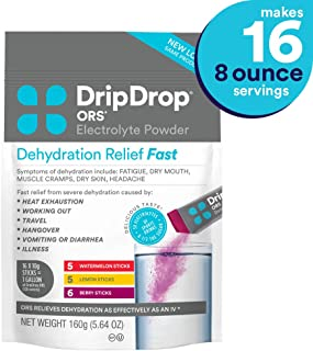 DripDrop ORS - Patented Electrolyte Powder for Dehydration Relief fast - For Hangover, Heat Exhaustion, Illness, Sweating & Travel Recovery, Watermelon, Berry, Lemon Flavor, Makes (16) 8oz Servings