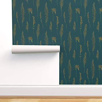 Spoonflower Peel And Stick Removable Wallpaper Fern Emerald Forest Olive Green Gold Dancing Botanical Print Self Adhesive Wallpaper 24in X 108in Roll Amazon Com