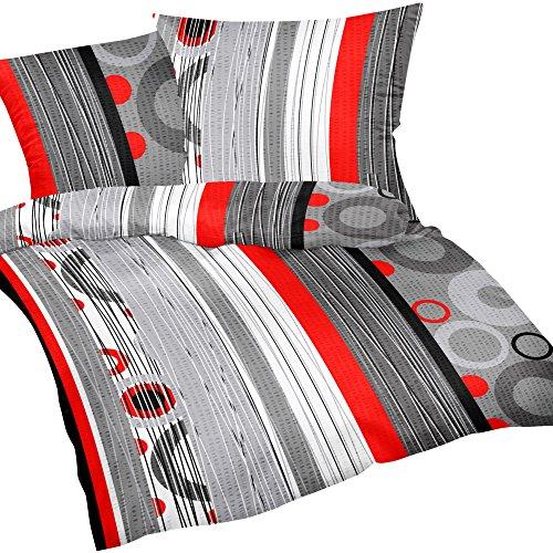 Heubergshop 2 TLG. Seersucker Bettwäsche 135x200cm und 80x80cm - Rot Kreise Modern Style - 100{d080e3f5e8a6a4c61b0919166b75ec9b64b9d4466cf0154cae96b964efd4d1f6} Baumwolle (387/3)