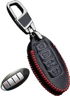 Genuine Leather fob Key Cover for Infiniti Accessories Keychain fit G25 G37 Sedan JX35 Q50 Q60 Q60s Q70L QX50 QX60 QX70 FX EX Key Chain case Holder Shell Bag (4 Buttons)