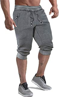 KEFITEVD Men's 3/4 Joggers Pants Workout Gym Shorts Running Capris with Zipper Pockets