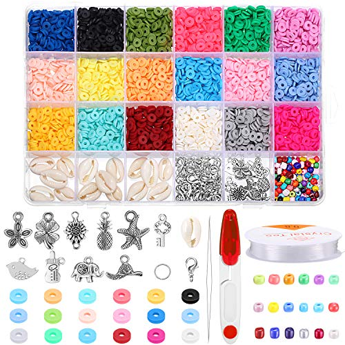 3700 Pieces Polymer Clay Beads Flat Round Spacer Beads Glass Seed Beads with Pendant Scissors Beading Needle Lobster Clasps Open Jump Rings and Elastic Crystal String for DIY Jewelry Key Chain Making