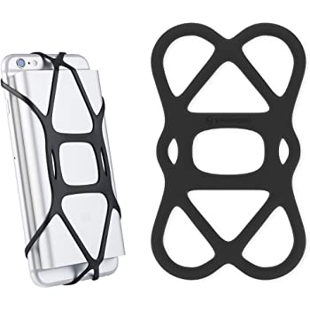 Sinjimoru Cell Phone Band Holder for Portable Charger, Elastic Rubber Silicone Band Lock Holder for Power Bank on iPhone, Security Strap Bike Mount. Silicone Band Holder, Black 1pc