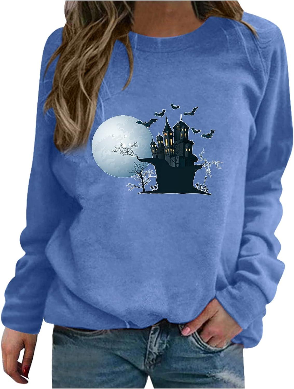 Women Tops Long Sleeve Crewneck Sweatshirt Cat Print Graphic Shirt Casual Loose Halloween Pullover Blouse