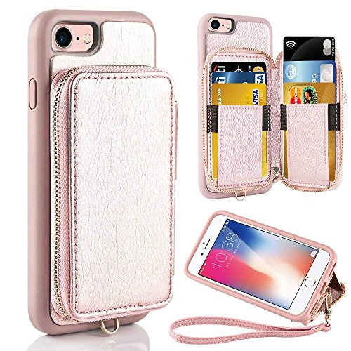 ZVE Case for Apple iPhone 8 and iPhone 7, 4.7 inch, Leather Wallet Case with Credit Card Holder Slot Zipper Wallet Pocket Purse Handbag Wrist Strap Case Cover for iPhone 8/7/SE(2020) - Rose Gold
