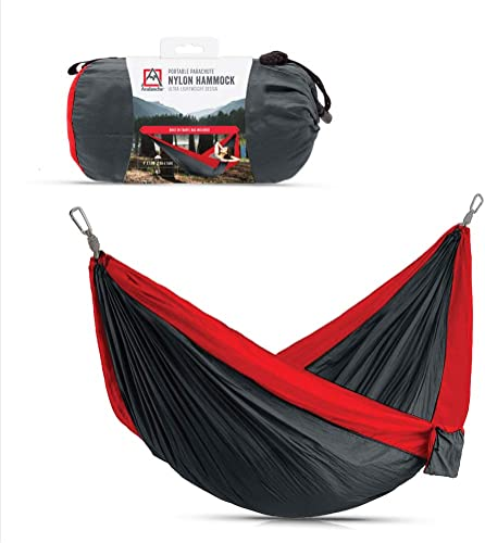 wholesale Avalanche outlet sale Hammock for Camping, Outdoor Sleeping - outlet online sale Includes Tree Straps, Carry Bag (Double Hammock, Grey/Red) outlet online sale