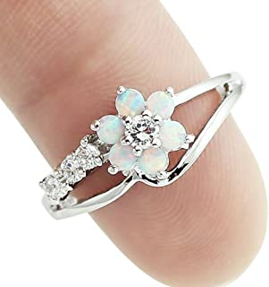 Women Rings,Yamally Opal Ring Fashion Jewelry Filled Wedding Engagement Six Claw Rings for Women