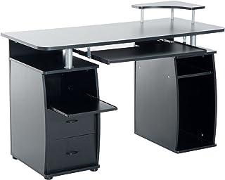 HOMCOM Bureau Informatique multimédia Multi-rangements 120 L x 55 l x 85 H cm Noir