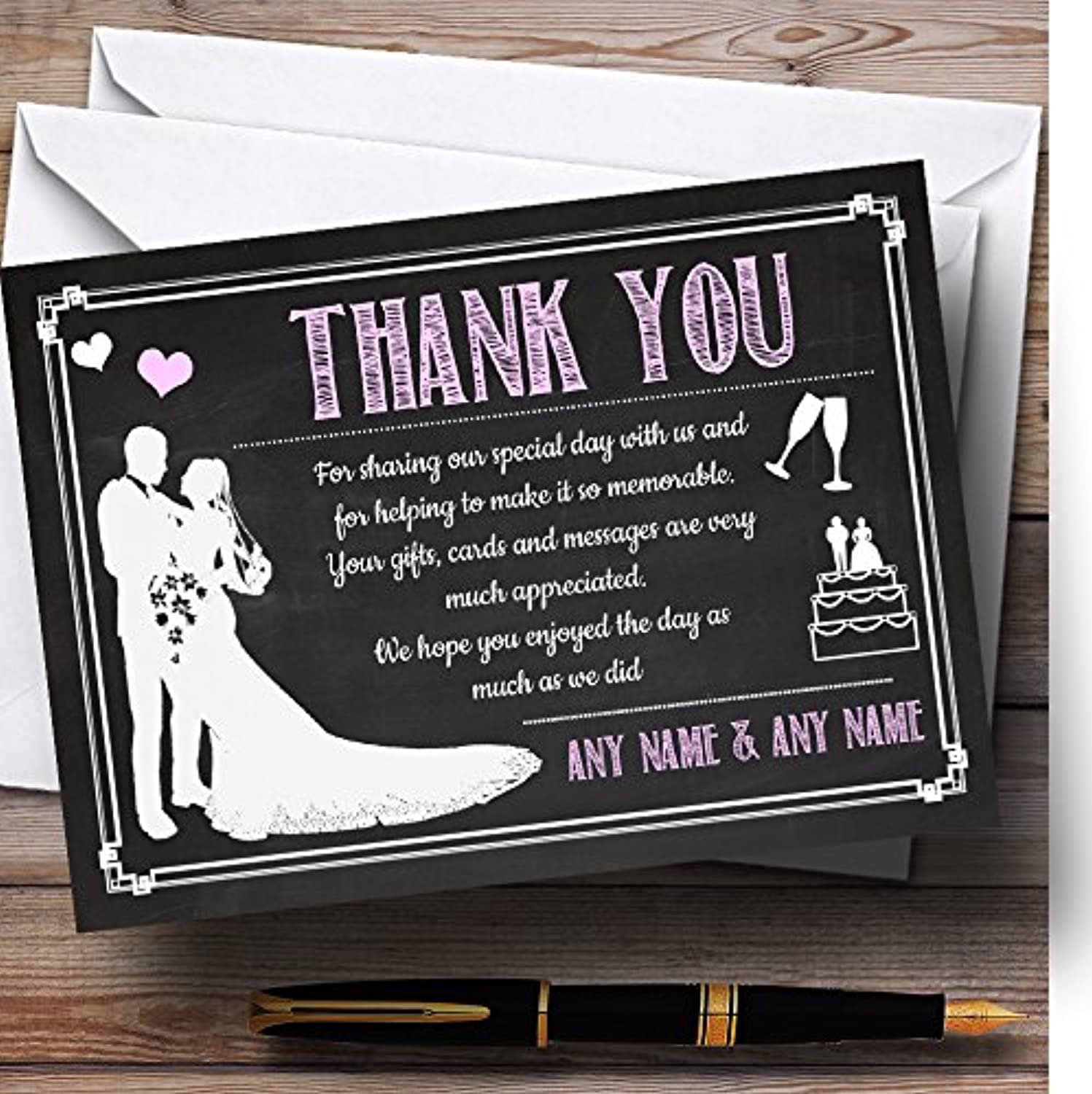 Chalkboard Pink Personalised Wedding Stationery Thank You Cards