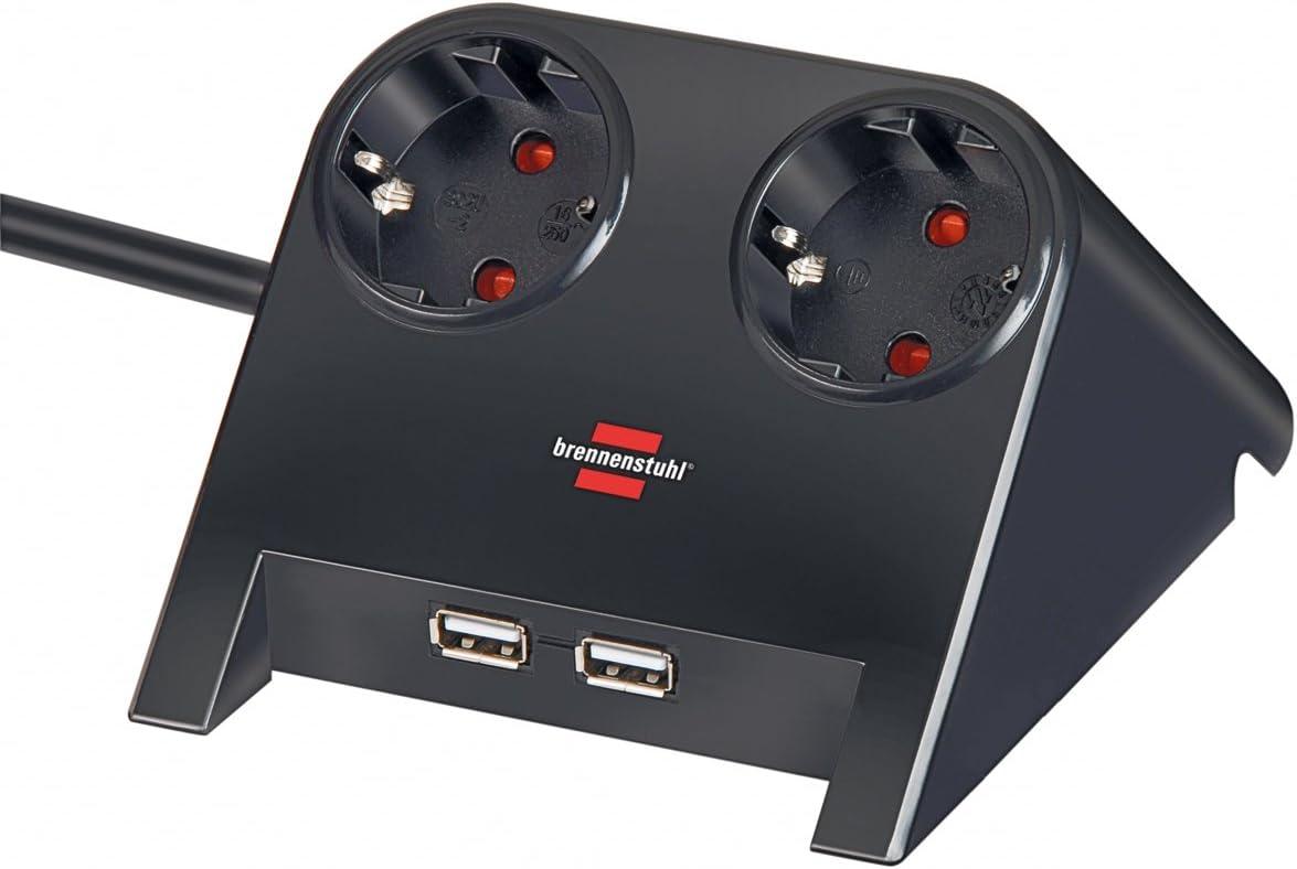 Brennenstuhl Desktop Power Steckdosenleiste 2 Fach Für Den Tisch Tischsteckdose Mit 1 8m Kabel Gummifüßen Und 2 Fach Usb Schwarz Poliert Baumarkt