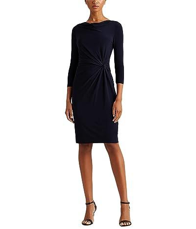 LAUREN Ralph Lauren Mid Weight Matte Jersey 3/4 Sleeve Day Dress
