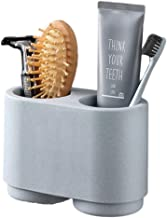 Wekity Toothbrush Holder, Wall-Mounted Toothbrush and Toothpaste Wash Cup Storage Holder with 2 Magnetic Cups Bathroom Was...