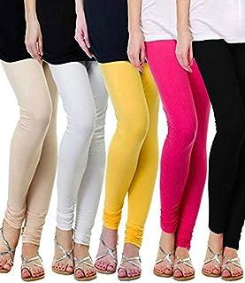 ZAKOD Women's 160 GSM Cotton Lycra Leggings Combo (Multicolour, Free Size) - Pack-5