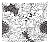 Emvency Tapestry Polyester Fabric Print Home Decor Sunflower of Abstract Black and White Flowers Nature Line Blossom Drawing Drawn Wall Hanging Tapestry for Living Room Bedroom Dorm 50x60 inches