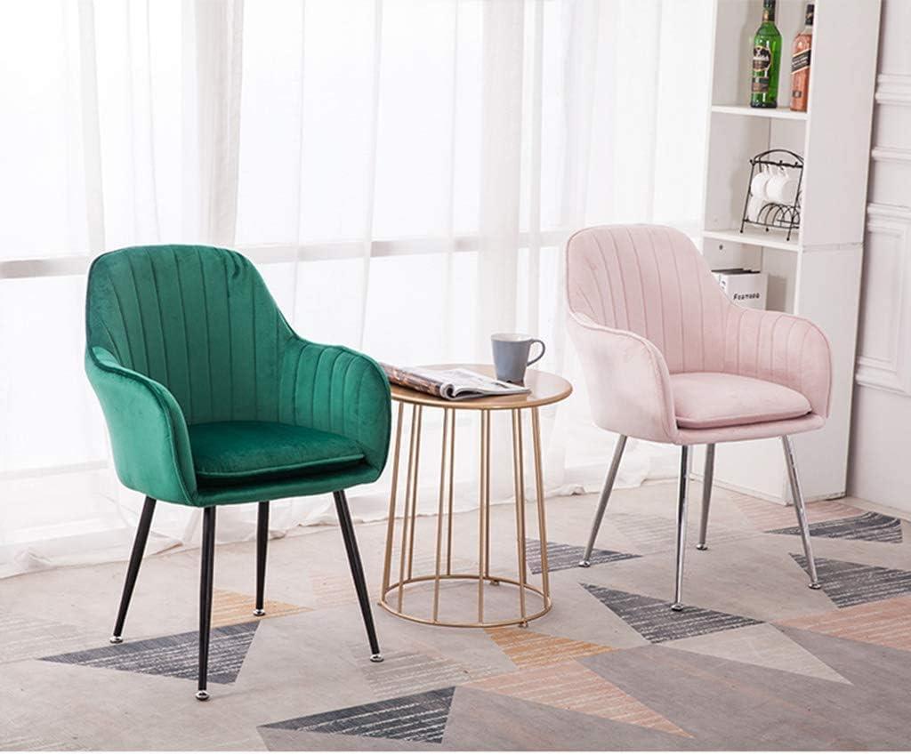 GSN Flanelle Tub Chair, Chaise salle à manger moderne Meubles de loisirs, Coussin amovible et lavable, de charge élevée en titane d'or Leg fauteuils (Color : Blue) Pink
