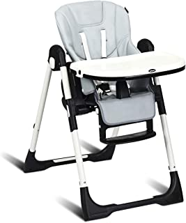 INFANS High Chair for Babies & Toddlers, Foldable Highchair with Multiple Adjustable Backrest, Footrest and Seat Height, Removable Tray, Detachable Cushion, Built-in Rear Wheels (Grey)
