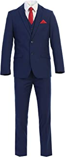 Elegant Men's Slim Fit Two Button Three Piece Suit (Short, Indigo Blue)
