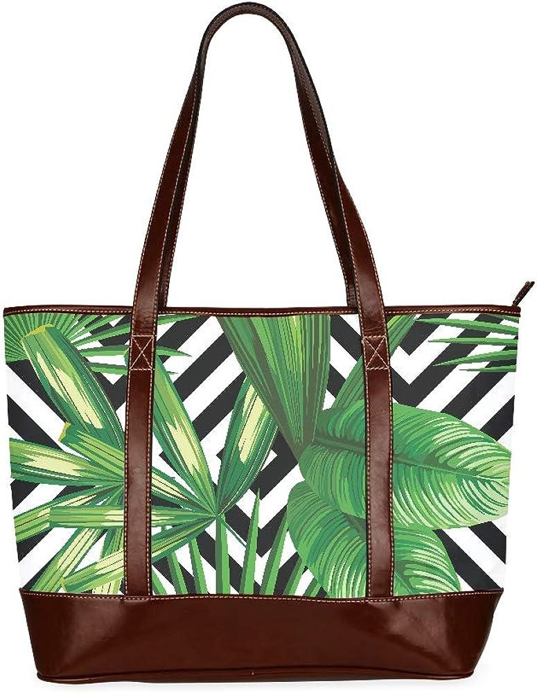 Print Summer Exotic Jungle Plant Tropical Shoulders Bag Designer Handbag Large Capacity Printed Handbag Cover With Zipper Top-handle