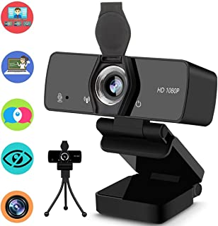 Webcam with Microphone, 1080P HD Streaming Web Camera for Computer Desktop Laptop, USB PC Camera 110-Degree Wide Angle wit...