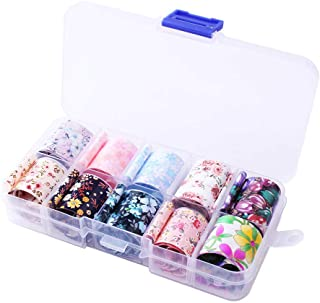 WOKOTO 10 Rolls Flower Foil Nail Transfer Stickers Strips Starry Sky Star Nail Art Wraps Decals Tips Manicure Decoration (0.98inchs39.4inchs)