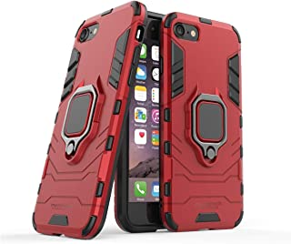 Mondetech for iPhone 8/7 Case with Screen Protector, Slim Tough Drop Protection with Ring Stand, Magnetic Holder Compatible, Tempered Glass Film, Outdoor Heavy Duty Shockproof Cover, Red