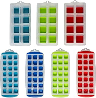 Ice tray assortment (7 trays) Easy release silicon bottoms Ideal for chilling Whiskey, Cocktails, Soups, Baby Food or maki...