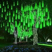 LEDストリングライト ツリー流星雨ライト30cm 10チューブ360LEDsガーデンメテオシャワーライト防水落下ライト雨滴ライトクリスマスツリーライト (緑)