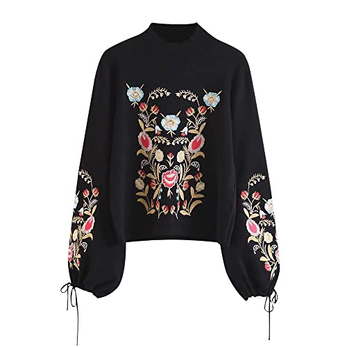 f5c756bb3cfa5 DEZZAL Women s Mock Neck Puff Sleeve Floral Embroidered Pullover Sweater …  Black