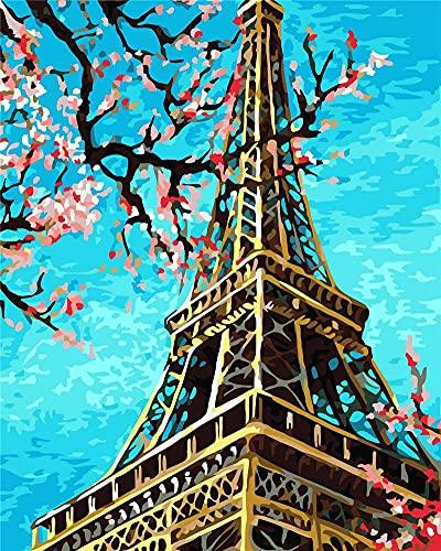 Xpboao Pintar por números - Torre Eiffel, Flores, árbol - Pintura de Arte Moderno - Kit de Pintura de Bricolaje Adecuado para Adultos y Principiantes - 40x50cm - Sin Marco