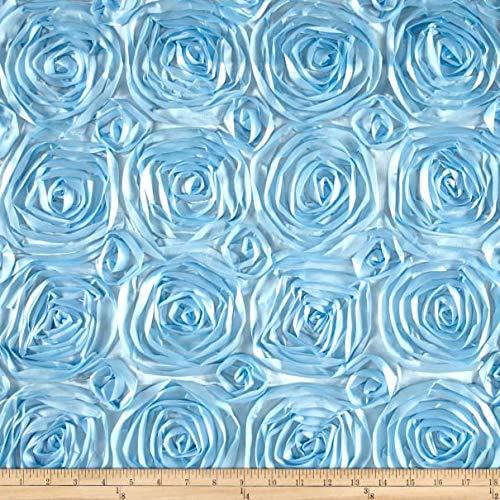 AK Trading 54-Inch Wide Premium Satin Rosette 3D Rose Design Ribbon Fabric (Baby Blue, 1 Yard)