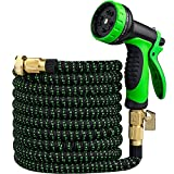 SENMULIN Garden Hose 50FT, Expandable Hose with 10 Functional Nozzles, Brass Fittings and Super Strong Fabric, Water Hose Used for Washing, Watering and Car Washing.