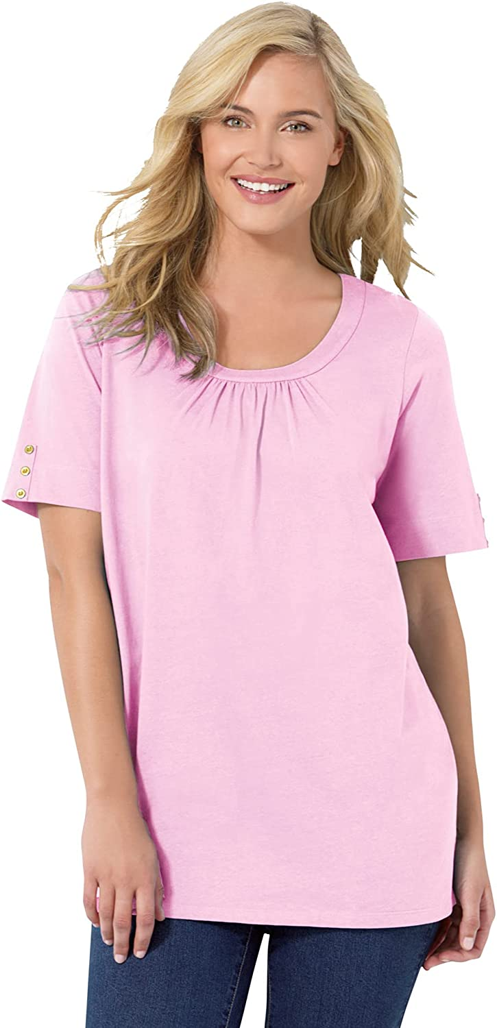 Woman Within Women's Plus Size Perfect Button-Sleeve Shirred Scoop-Neck Tee Shirt