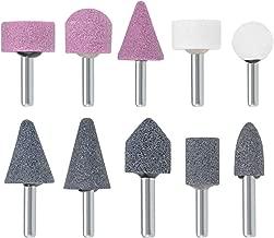 uxcell Abrasive Stone Points Set Grinding Wheel Polishing Head Bit with 1/4-inch Shank 10 Pcs