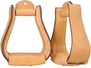 Tough-1 Leather Covered Stirrups - Light Oil
