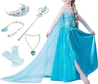 Canberries® - Disfraz de princesa para niña, vestido brillante, disfraz de Navidad, carnaval, fiesta, Halloween, set de diadema, guantes, varita mágica, trenza, collar
