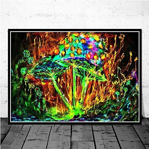 Puzzle 1000 piezas Seta visual educación psicológica magia psicodélica luz negra arte pintura puzzle 1000 piezas animales educativo divertido juego familiar para niños adultos50x75cm(20x30inch)