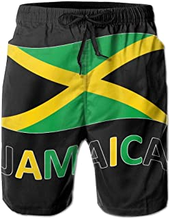YongColer Mens Casual Beach Shorts with Elastic Waist Drawstring Summer Short Pants Green Yellow Jamaican Flag