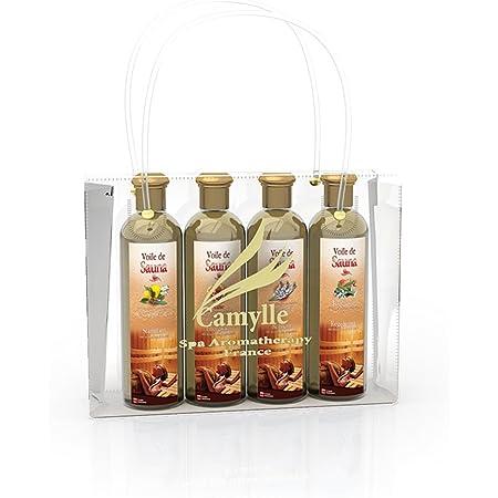Camylle - Sélection Voile de Sauna présentée dans un superbe sac Camylle comprenant quatre flacons : 1 x 250ml Luxe - 1 x 250ml Cajeput/Citron - 1 x 250ml Lavandin - 1 x 250ml Polynésie