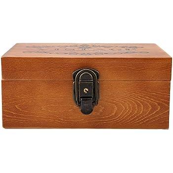 Hztyyier Caja del Tesoro Vintage, Caja de Madera con Cerradura y Llave, Caja Decorativa Vintage para Almacenamiento de Regalos y decoración del hogar(#1): Amazon.es: Hogar